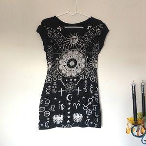Tops - Black Astrology/Zodiac Sign Long T-Shirt